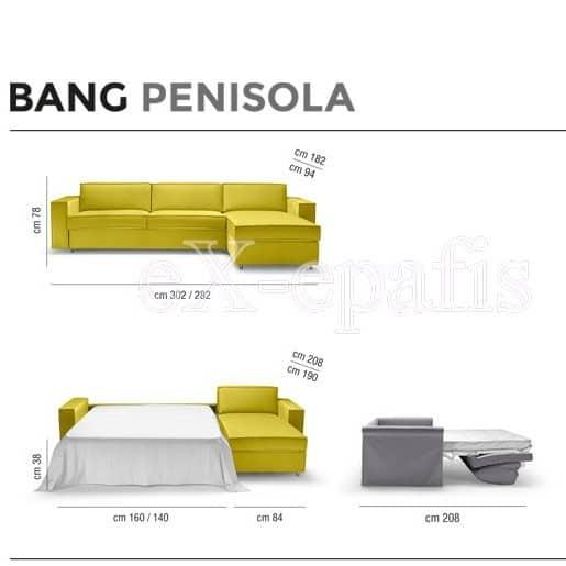 καναπές γωνιακός με κρεβάτι bang penisola nocits διαστάσεις