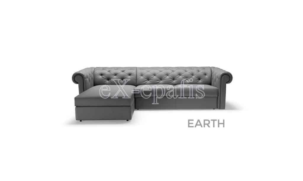 καναπές γωνιακός με κρεβάτι earth penisola noctis