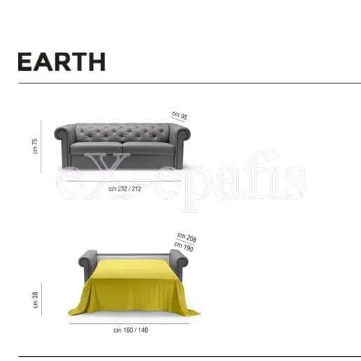 καναπές κρεβάτι earth noctis διαστάσεις