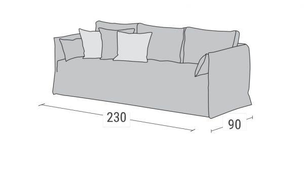 Καναπές Κρεβάτι Duetto Linea Strom - Διαστάσεις