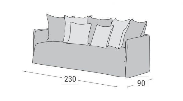 Καναπές Κρεβάτι Duo Linea Strom - Διαστάσεις