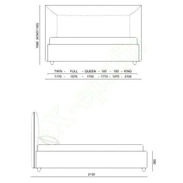 Κρεβάτι Ginevra Eco Italy - Διαστάσεις
