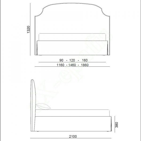 Κρεβάτι Iris Eco Italy - Διαστάσεις
