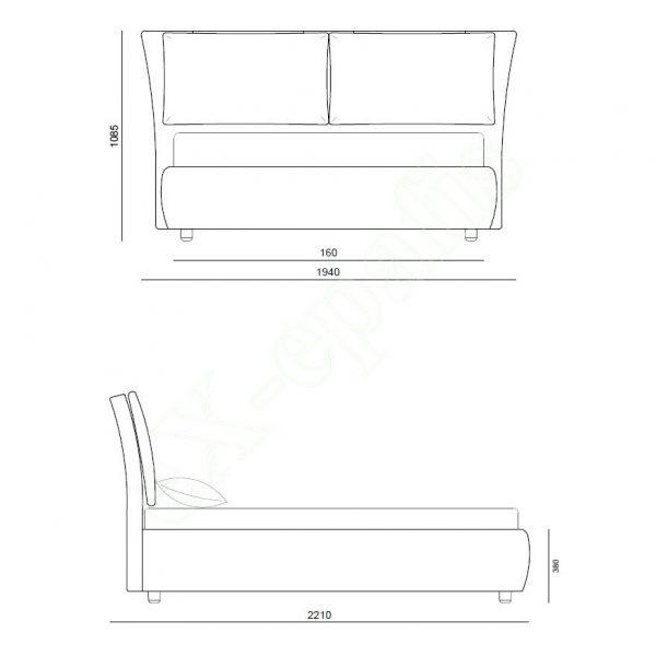 Κρεβάτι Memphis Eco Italy - Διαστάσεις