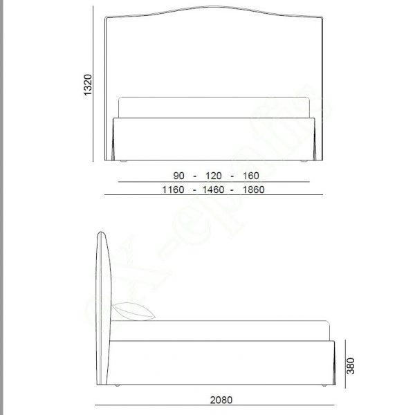 Κρεβάτι Peonia Eco Italy - Διαστάσεις