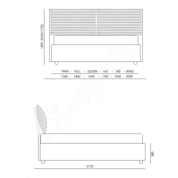 Κρεβάτι Tiffany Eco Italy - Διαστάσεις