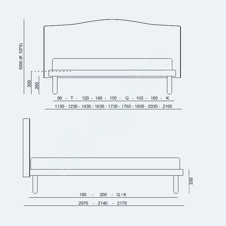 Κρεβάτι Dream Modern Project Noctis - Διαστάσεις