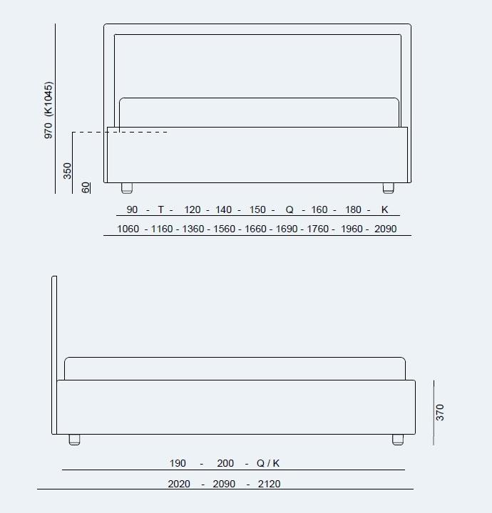 Κρεβάτι Smart Project Noctis - Διαστάσεις