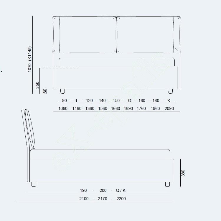 Κρεβάτι Vera Advance Project Noctis - Διαστάσεις