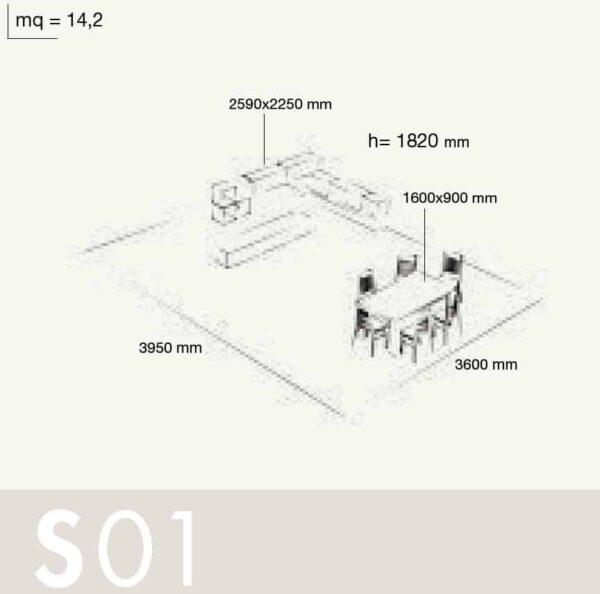 Wall Unit Set Colombini Volo S01