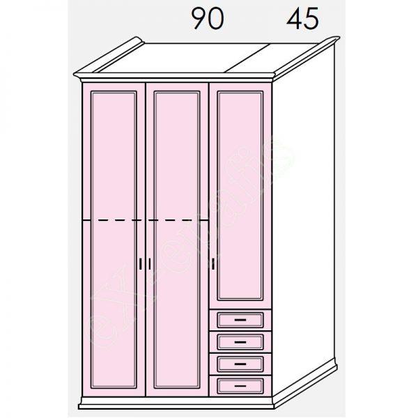 Ντουλάπα 3φυλλη 142cm H236cm Arcadia Colombini