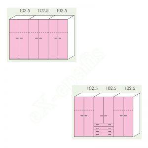 Ντουλάπα 6φυλλη 308cm H196cm Volo Colombini
