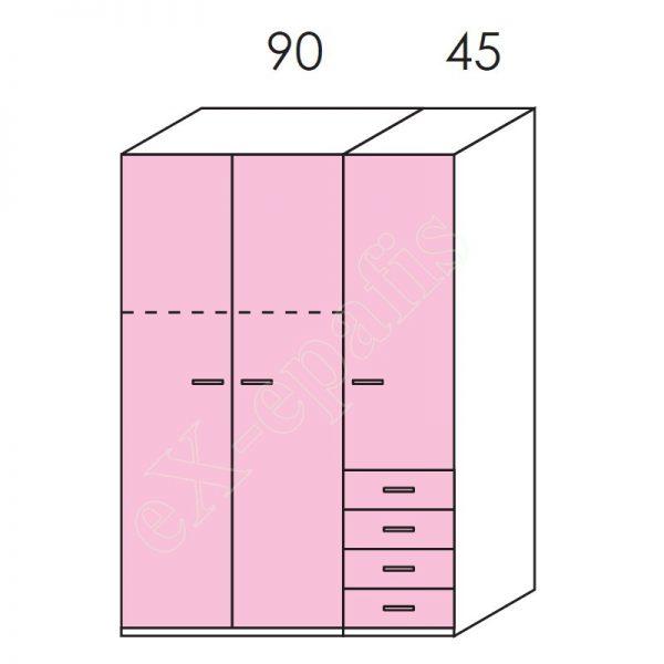 Ντουλάπα 3φυλλη 135cm H196cm Volo Colombini