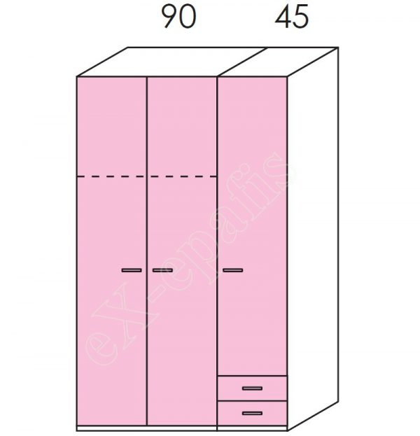 Ντουλάπα 3φυλλη 135cm H228cm Volo Colombini