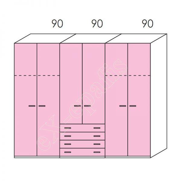 Ντουλάπα 6φυλλη 270cm H228cm Volo Colombini