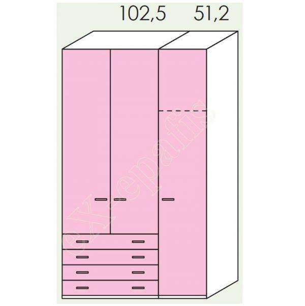 Ντουλάπα 3φυλλη 154cm H260cm Volo Colombini