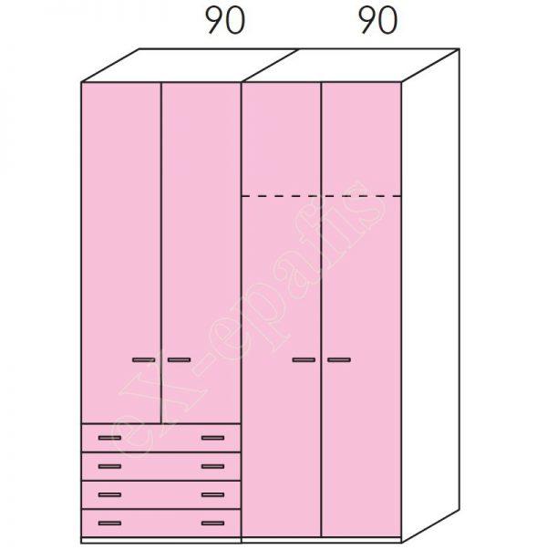 Ντουλάπα 4φυλλη 180cm H260cm Volo Colombini