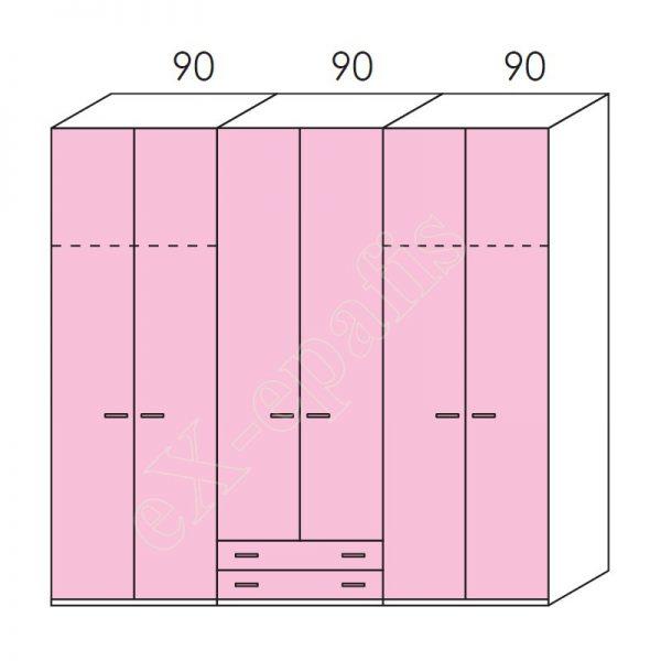 Ντουλάπα 6φυλλη 270cm H260cm Volo Colombini
