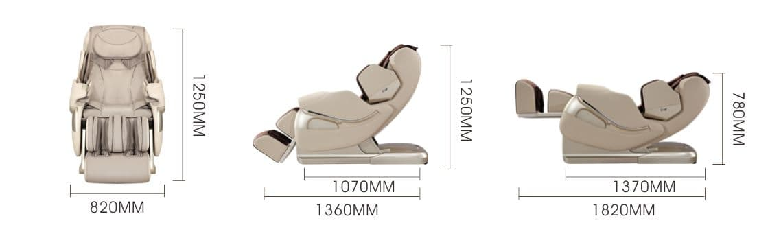 Massage chair irest A86-1 Robostic 3D Zero Gravity Dimmensions
