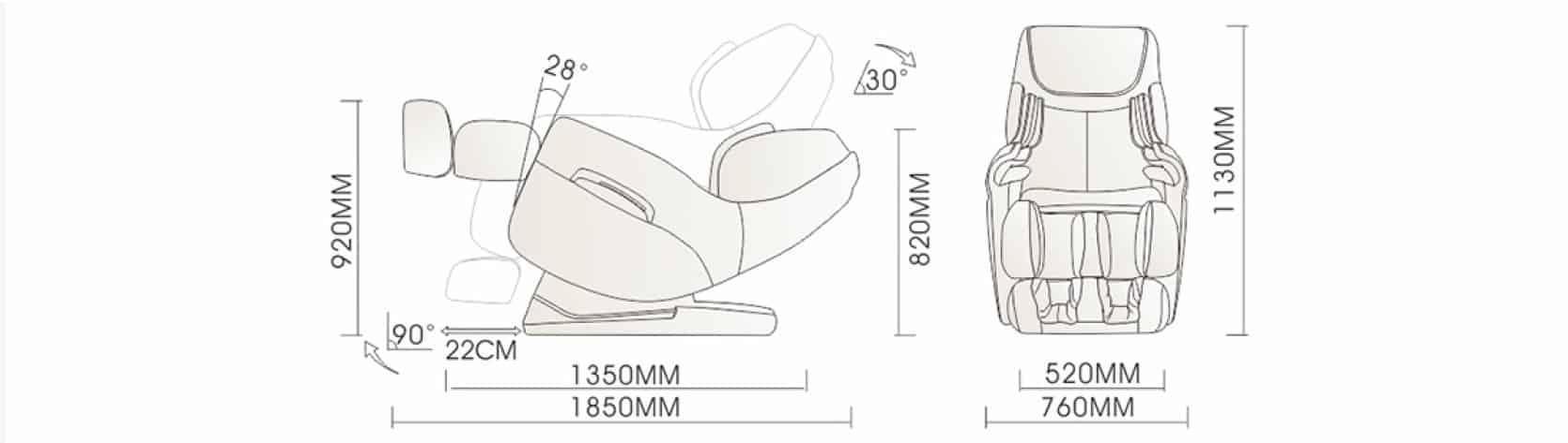 massage chair A380 iRest dimensions
