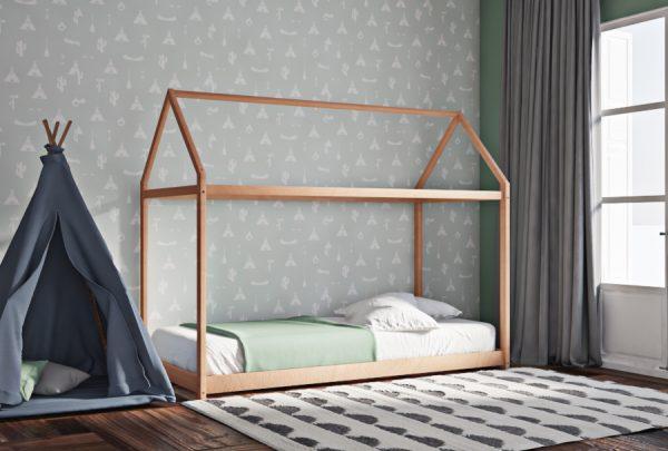 Κρεβάτι House Frame Montessori Φυσικό Χρώμα Οξιάς