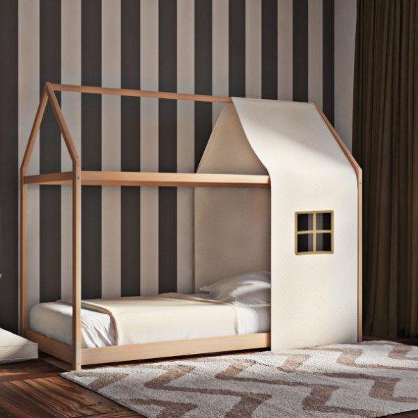 Κρεβάτι House Frame Montessori Φυσικό Χρώμα Οξιάς με Ύφασμα