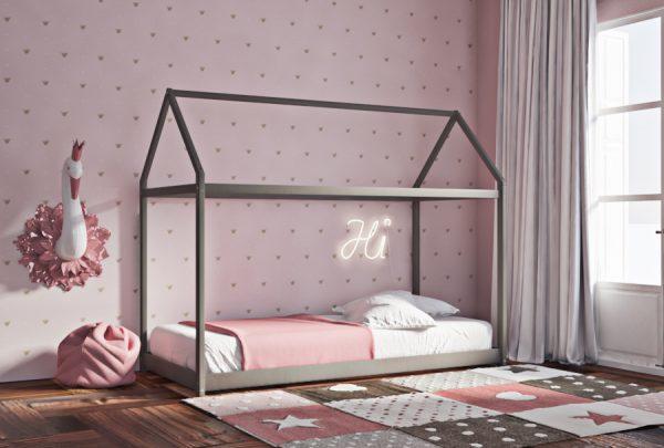 Κρεβάτι House Frame Montessori Γκρι Λάκα