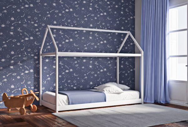 Κρεβάτι House Frame Montessori Λευκό Χρώμα Οξιάς