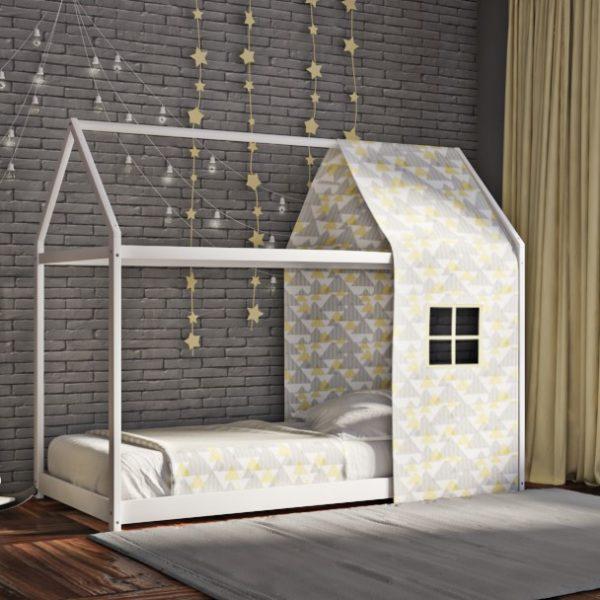 Κρεβάτι House Frame Montessori Λευκό Χρώμα Οξιάς και Ύφασμα