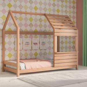 Παιδικό Κρεβάτι Lovely Montessori Λευκό Φυσικό Οξιά