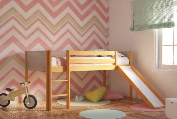 Κρεβάτι Υπερυψωμένο Dream Φυσικό Οξιά με Τσουλήθρα