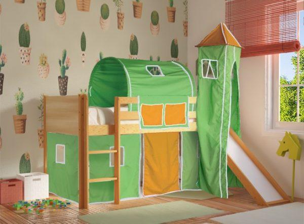 Κρεβάτι Υπερυψωμένο Dream Φυσικό Οξιά με Πράσινο Πορτοκαλί