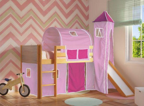 Κρεβάτι Υπερυψωμένο Dream Φυσικό Οξιά με Τσουλήθρα Ροζ Φουξ