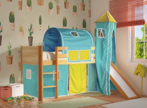 Κρεβάτι Υπερυψωμένο Dream Φυσικό Οξιά με Τσουλήθρα Τιρκουάζ Κίτρινο