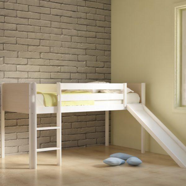 Κρεβάτι Υπερυψωμένο Dream Λευκό Οξιά με Τσουλήθρα