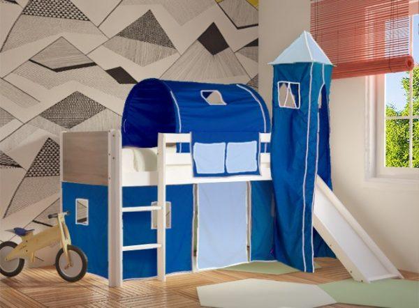 Κρεβάτι Υπερυψωμένο Dream Λευκό Οξιά με Τσουλήθρα Μπλε Γαλάζιο