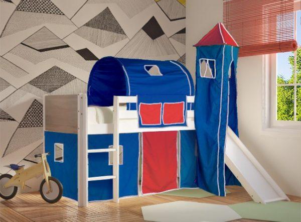 Κρεβάτι Υπερυψωμένο Dream Λευκό Οξιά με Τσουλήθρα Μπλε Κόκκινο