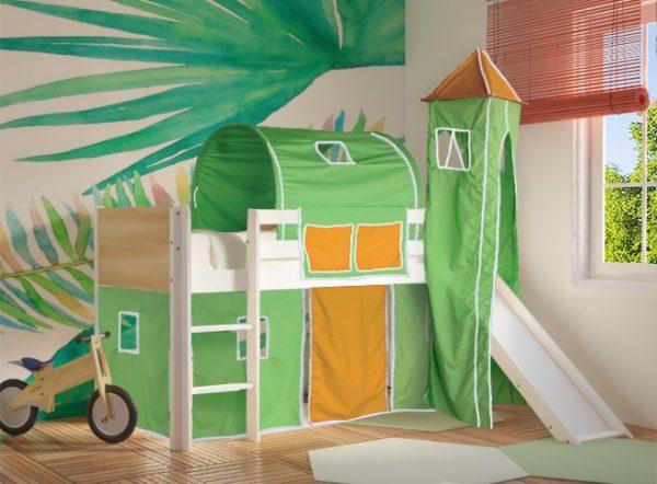 Κρεβάτι Υπερυψωμένο Dream Λευκό Οξιά με Τσουλήθρα Πράσινο Πορτοκαλί