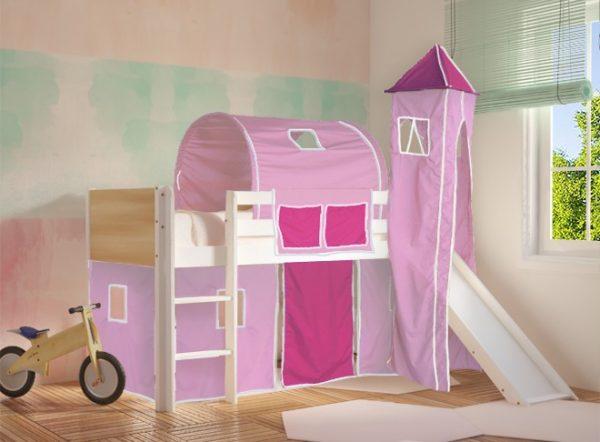 Κρεβάτι Υπερυψωμένο Dream Λευκό Οξιά με Τσουλήθρα Ροζ Φουξ